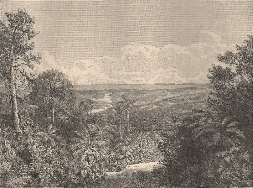 Associate Product Ecuador scenery. view on the Pastaza river east of El Altar 1885 old print