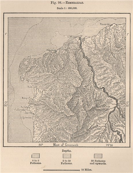 Associate Product Esmeraldas. Ecuador 1885 old antique vintage map plan chart