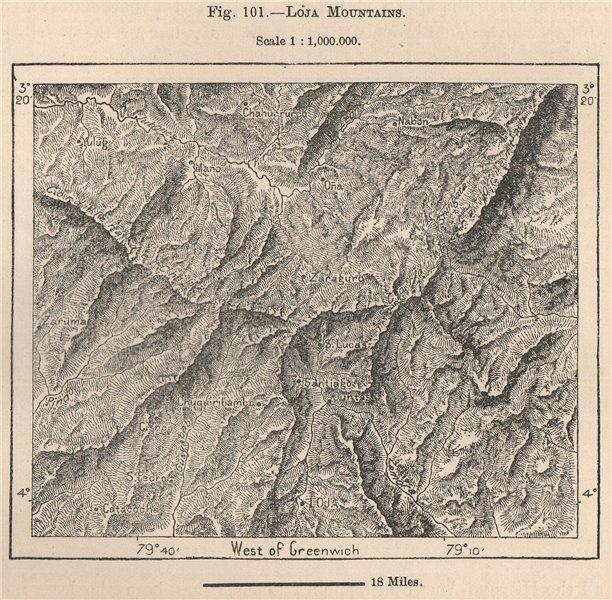 Associate Product Loja Mountains. Ecuador 1885 old antique vintage map plan chart