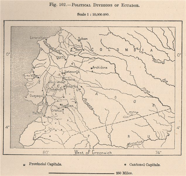 Associate Product Political divisions of Ecuador 1885 old antique vintage map plan chart
