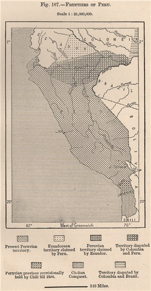 Associate Product Frontiers of Peru 1885 old antique vintage map plan chart