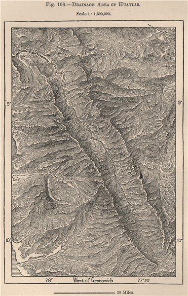 Associate Product Parque Nacional Huascarán, Cordillera Blanca, Huaylas. Peru 1885 old map
