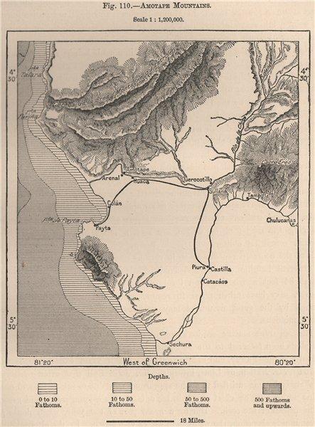 Associate Product Cerros de Amotape mountains. Paita. Piura. Peru 1885 old antique map chart