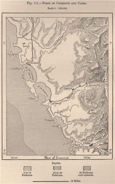 Associate Product Ports of Chimbote and Casma, Ancash, Peru. Samanco 1885 old antique map chart
