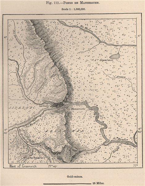 Associate Product Pongo de Manseriche, Marañón River, Peru. Gold mines 1885 antique map
