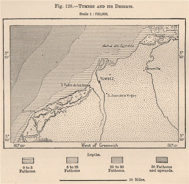 Associate Product Tumbez/Tumbes and its deserts. Peru 1885 old antique vintage map plan chart
