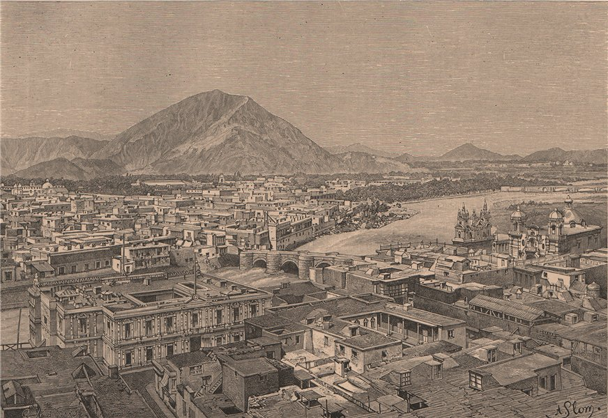 Associate Product General view of Lima, taken from the south. Peru 1885 old antique print