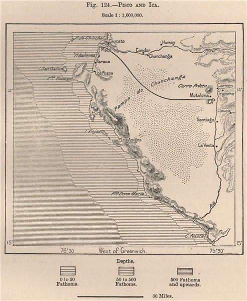 Associate Product Pisco and Ica. Peru 1885 old antique vintage map plan chart