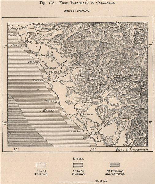 Associate Product Peru coast. Lambayeque Pacasmayo Cajamarca Chiclayo Trujillo 1885 old map