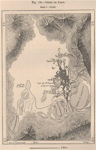 Cerro de Pasco. Peru 1885 old antique vintage map plan chart