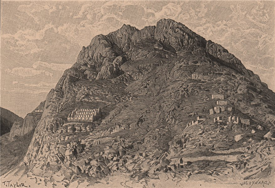 Associate Product Inca buildings. Cerro de las Carceles at Ollantaytambo. Peru 1885 old print