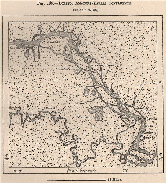 Associate Product Loreto, Amazon/Yavari (Javari) confluence. Peru 1885 old antique map chart