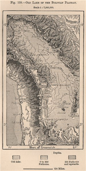 Associate Product Ancient Lake of the Bolivian Plateau 1885 old antique vintage map plan chart