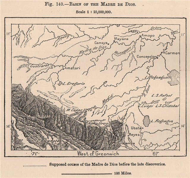 Associate Product Basin of the Madre de Dios. Andean States. Bolivia Peru Brazil 1885 old map