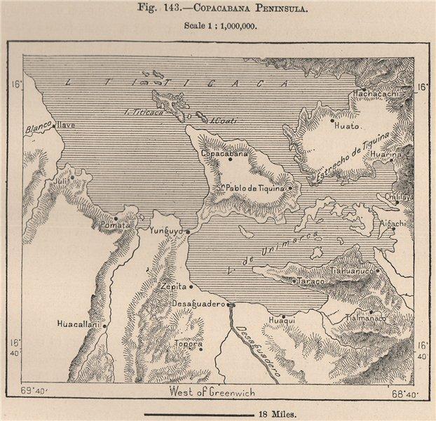 Associate Product Copacabana Peninsula, Lake Titicaca. Andean States. Bolivia Peru 1885 old map