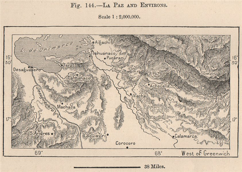 Associate Product La Paz and environs. Bolivia 1885 old antique vintage map plan chart