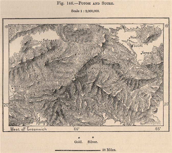 Associate Product Potosi and Sucre. Bolivia 1885 old antique vintage map plan chart
