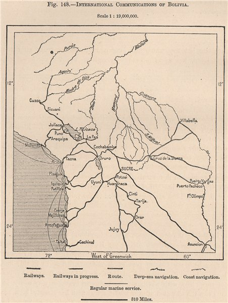 Associate Product International communications of Bolivia 1885 old antique map plan chart