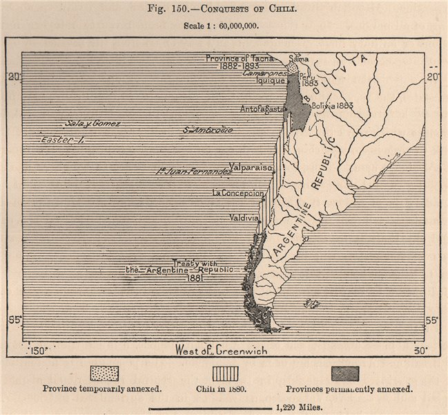 Associate Product Conquests of Chile.1881 1882 1883.War of the Pacific.Argentina treaty 1885 map