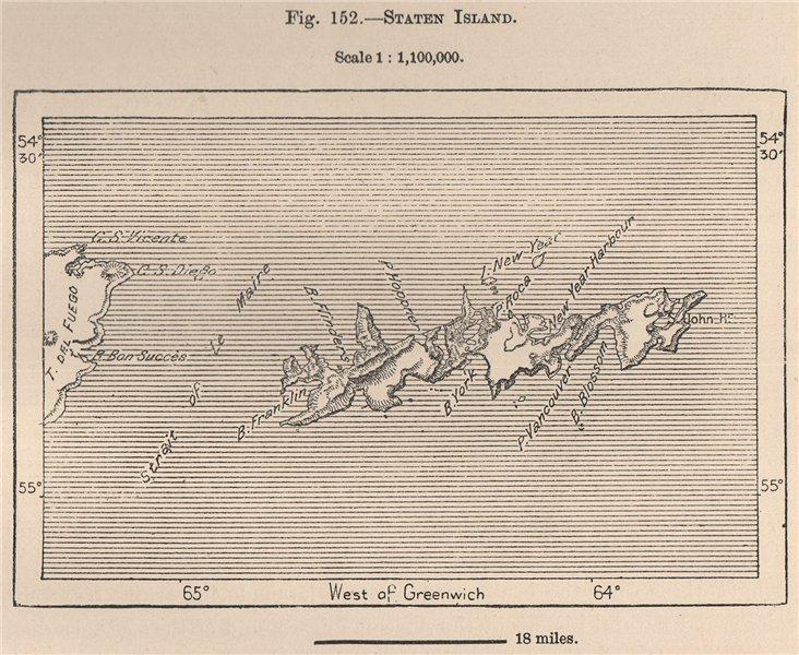 Staten Island. Isla de los Estados, Tierra del Fuego, Chile 1885 old map