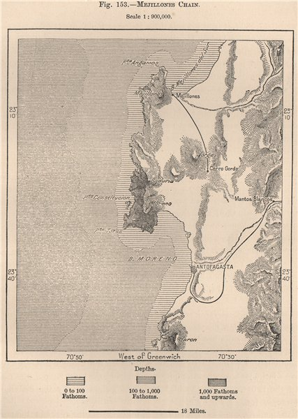 Associate Product Antofagasta & Mejillones. Chile 1885 old antique vintage map plan chart