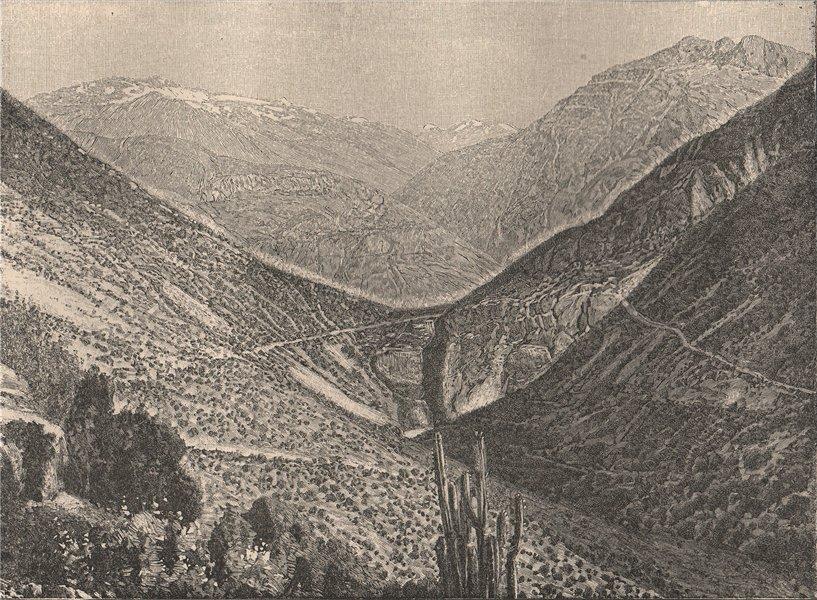 Associate Product La Cumbre pass/Paso de Uspallata from Salto del Soldado. Chile/Argentina 1885