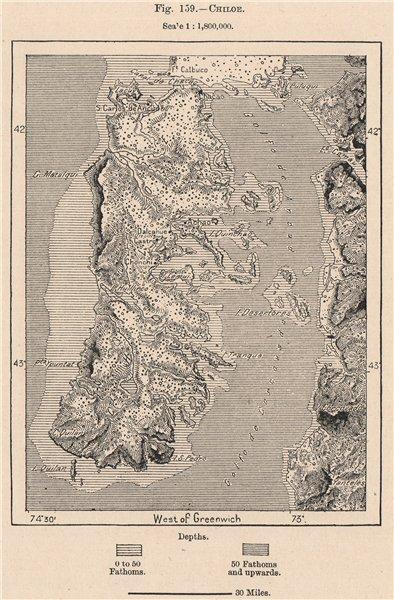 Associate Product Chiloé. Chile 1885 old antique vintage map plan chart