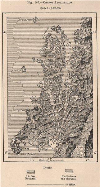 Associate Product Chonos Archipelago. Chile 1885 old antique vintage map plan chart