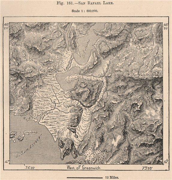 Associate Product Laguna San Rafael Lake. Northern Patagonian Ice Field. Chile 1885 old map