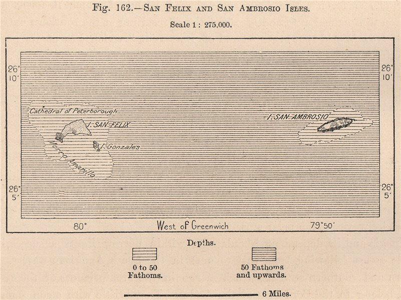 Associate Product San Felix and San Ambrosio Isles, Desventuradas Islands, Chile 1885 old map