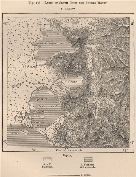 Associate Product Lakes of South Chile and Puerto Montt. Chile 1885 old antique map plan chart