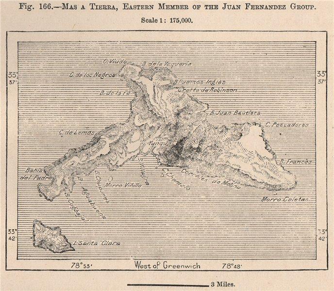 Associate Product Mas a Tierra (Robinson Crusoe Island) Juan Fernandez group. Chile 1885 old map