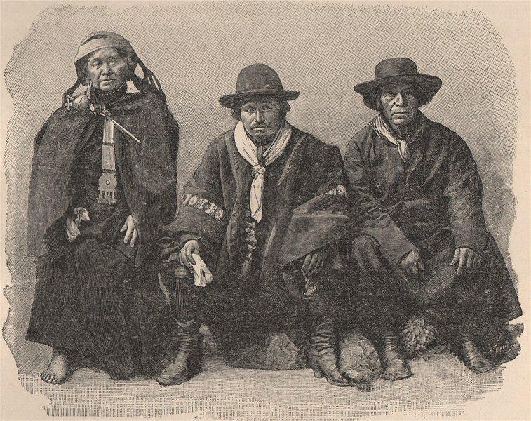 Associate Product Group of a Araucanians. Chile 1885 old antique vintage print picture