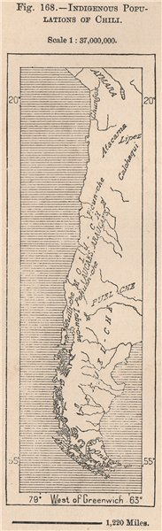 Associate Product Indigenous populations of Chile. Chile 1885 old antique vintage map plan chart