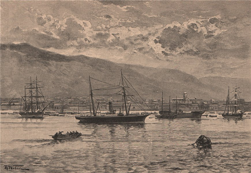 Associate Product Iquique - View from the sea. Chile 1885 old antique vintage print picture