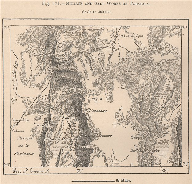 Nitrate and salt works of Tarapaca. Chile 1885 old antique map plan chart