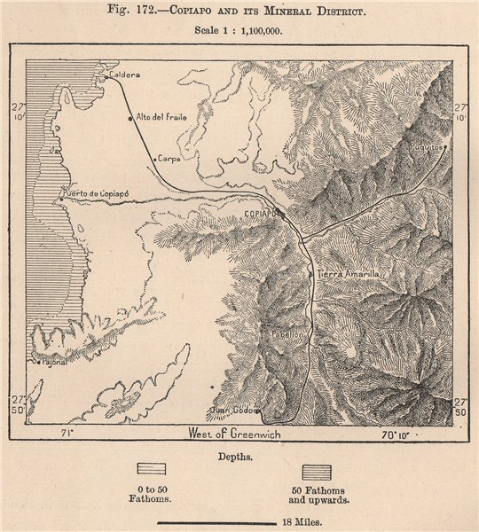 Associate Product Copiapo and its mineral district. Chile 1885 old antique map plan chart
