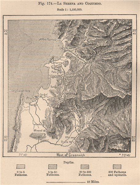 Associate Product La Serena and Coquimbo. Chile 1885 old antique vintage map plan chart