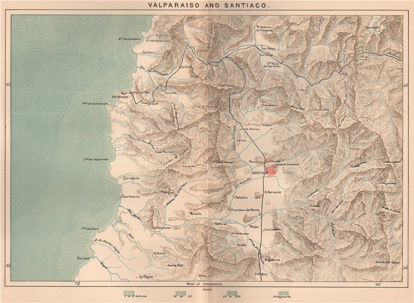 Associate Product Valparaiso and Santiago. Chile 1885 old antique vintage map plan chart