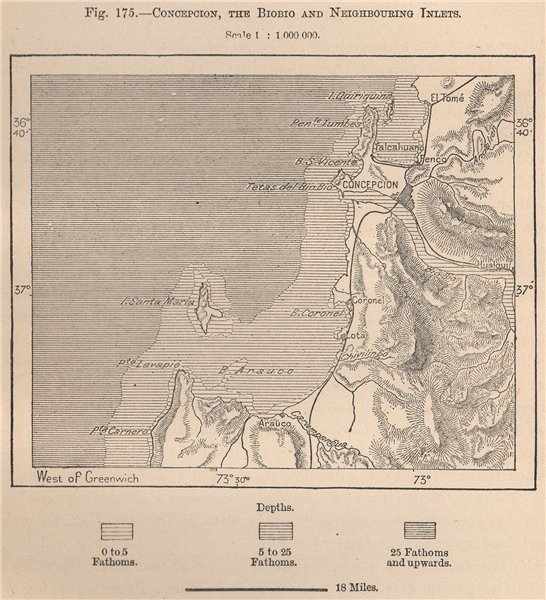 Associate Product Concepcion, the Biobio and neighbouring inlets. Chile 1885 old antique map