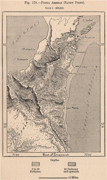 Associate Product Punta Arenas (Sandy Point) . Chile 1885 old antique vintage map plan chart