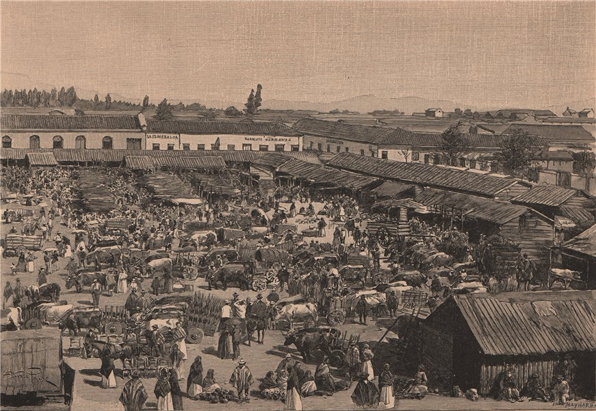 Associate Product Chillan - Market-place. Chile 1885 old antique vintage print picture