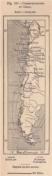 Associate Product Communications of Chile. Chile 1885 old antique vintage map plan chart