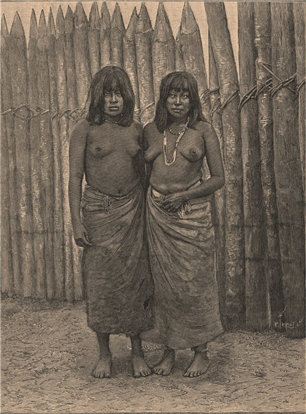 Gran Chaco Indians. Bolivia Paraguay Argentina Brazil 1885 old antique print