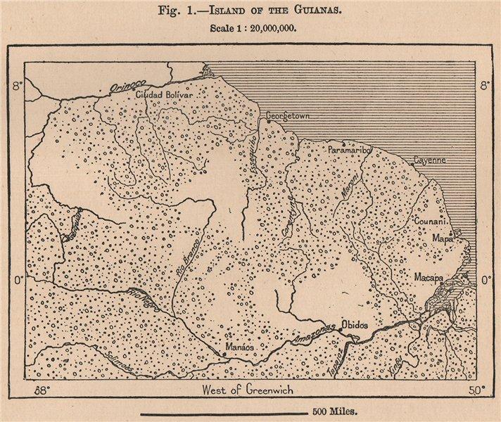 Associate Product Island of the Guianas. Guyana Suriname French Guiana. South America 1885 map