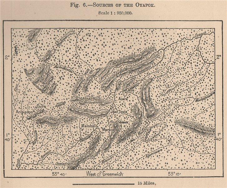 Associate Product Sources of the Oyapok/Oiapoque River.Montanhas do Tumucumaque.Brazil 1885 map