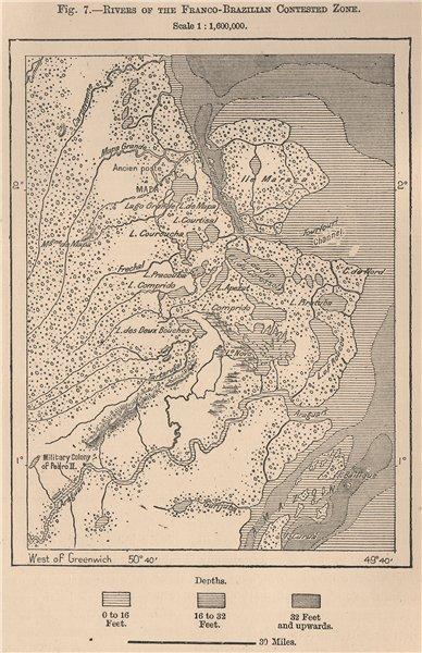 Associate Product Franco-Brazilian disputed zone. Guyane French Guiana. Amapa 1885 old