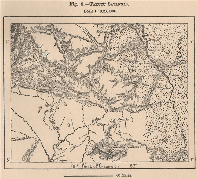 Associate Product Takutu savannas. Guyana 1885 old antique vintage map plan chart