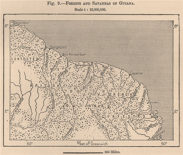 Associate Product Forests and Savannas of Guyana. Guyana. South America 1885 old antique map