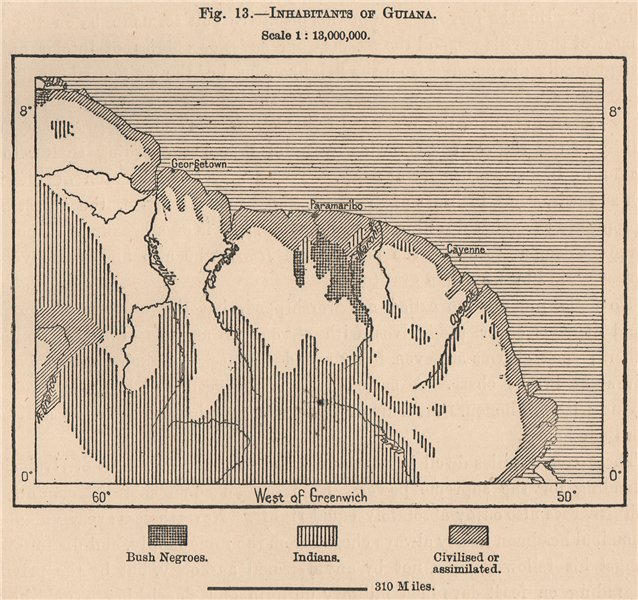 Associate Product Inhabitants of Guyana. South America. Guyana 1885 old antique map plan chart